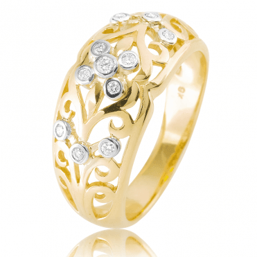 Versailles Diamond Ring in Sculptural 9ct Gold