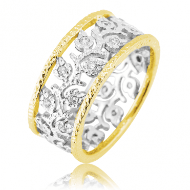 Cutwork Silver Ring with 18ct Gold Contrasts