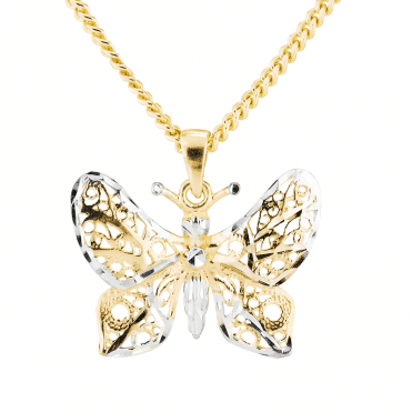 Butterfly Pendant in White & Yellow 9ct Gold
