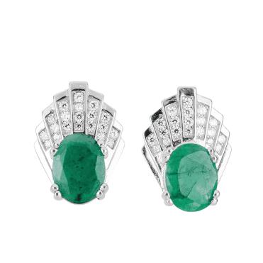 Emerald & White Topaz Fan Earrings