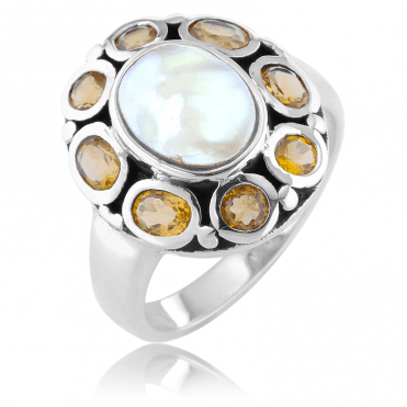 Regency Ring with Pearl and Citrine