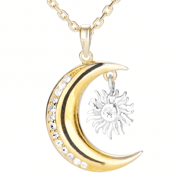 Classic Sun & Moon Pendant in 9ct Gold