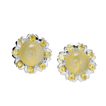 2ct Earrings with Sunbright Yellow Opal & Sapphire