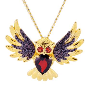Garnet, Black Spinel & 18ct Gold Owl to Wear Two Ways