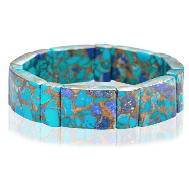 Stretch Bracelet Blends Turquoise & Lapis