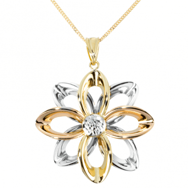 Couture Pendant of Yellow, Rose and White 9ct Gold