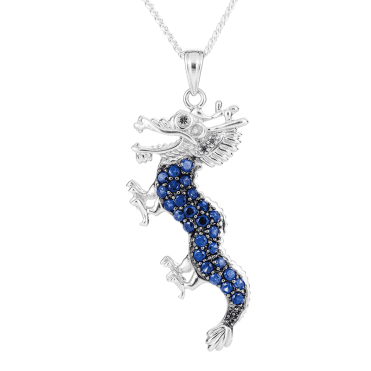 Powerful Dragon Pendant set with 3 Colours of Sapphire