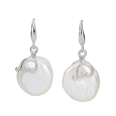 Button Pearl Earrings in Silver Swirls