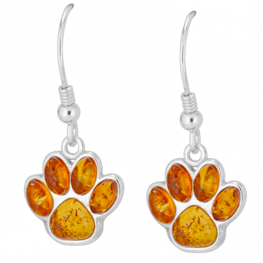 Amber Paw Print Earrings