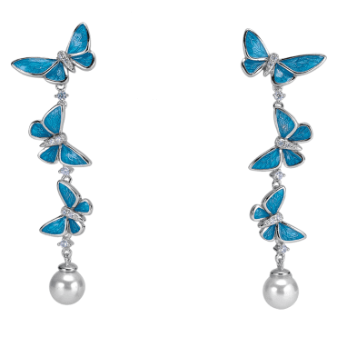 Silver Flight of Butterfly Earrings