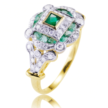 Regency 9ct Gold Ring Layers 1ct of Emeralds & Diamonds