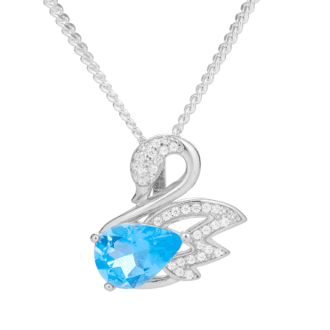 Sterling Silver Swan Pendant with Blue Topaz