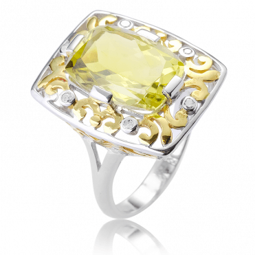 61/2cts of Vibrant Lemon Quartz & Diamonds in an 18ct Gold-Tipped Plateau Ring