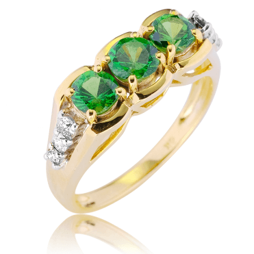1½cts of Desirable Tsavorite in a Diamond & 9ct Gold Setting