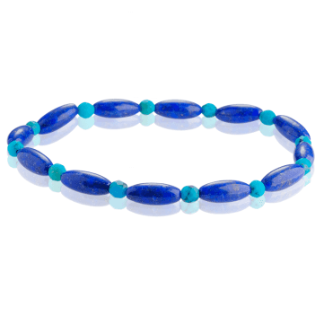 Comfy Stretch Bracelet with Egyptian Hues of Lapis & Turquoise