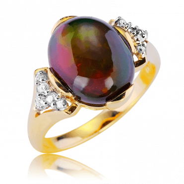 Lose Yourself in 2cts of Black Opal Lit by Fine Diamonds