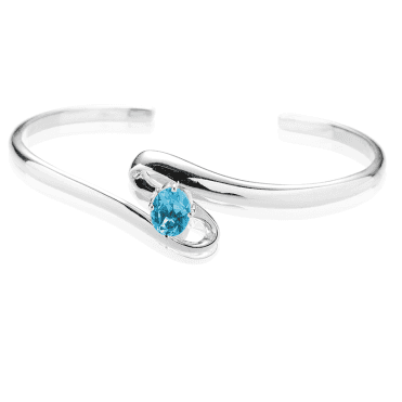 Silver Wave Bangle with 1½cts of Swiss Blue Topaz