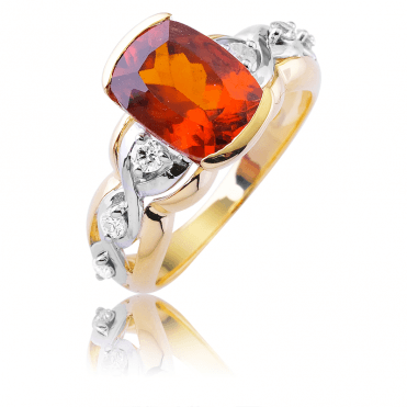 4ct Hessonite Garnet set with over ¼ct of Diamonds