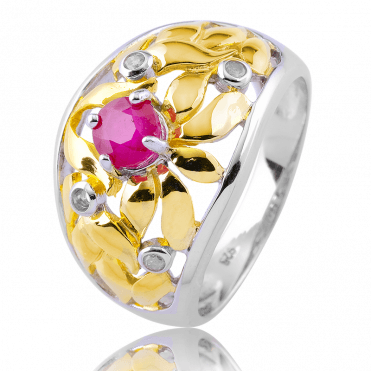 Paradise Garden Ring with Ruby & Diamonds