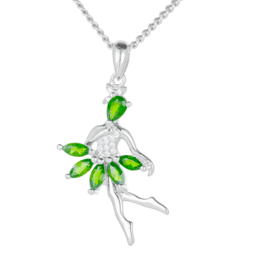 Diopside Fairy Pendant Lit by Cubic Zirconia