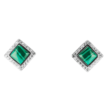 New Classic Studs with 10cts of Malachite & White Topaz