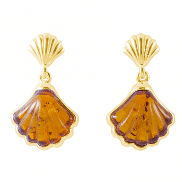 18ct Gold Plated Earrings Dance with 2½cts of Baltic Amber