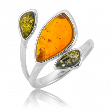 Perfect-fit Ring with 2cts of Cognac & Green Amber
