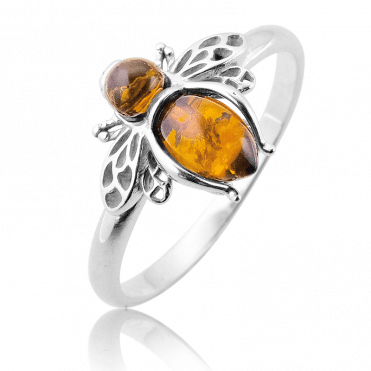 Bumblebee Ring in Baltic Amber
