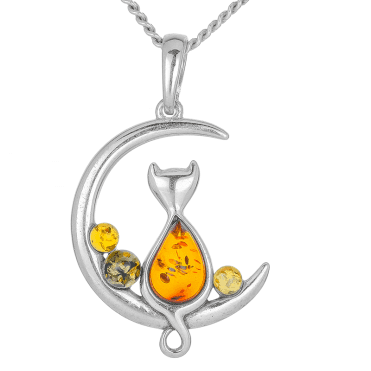Moonbathing Cat Pendant set with Dreamy Amber