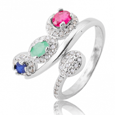 Easy-fitting Comfort with 1.15cts of Emerald, Ruby & Sapphire