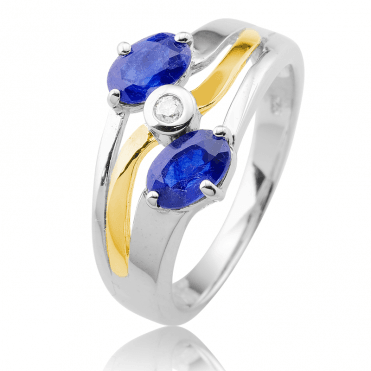 Sculptural Perfection with Sapphires & Diamond Only £67.50