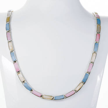 Four Seasons Silver Necklet with Pastel Shades of Enamel