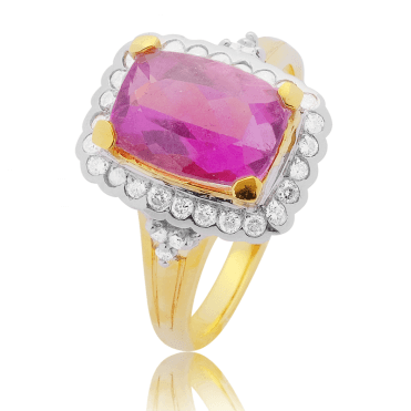 3.16ct Rubellite Tourmaline Cushion in a Gold & Diamond Ring