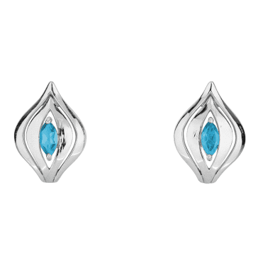 Jasper May 3D Invention of Silver & Blue Topaz Post Earrings