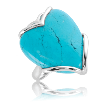12ct Heart of Turquoise in a Silver Statement Ring