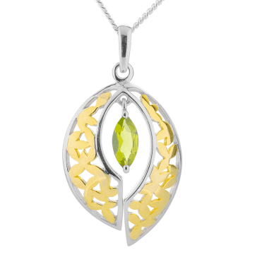 Peridot Pendant Nuanced with 18ct Gold