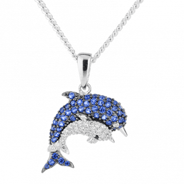 Sea Sparkle for a Dolphin Mother & Calf Pendant