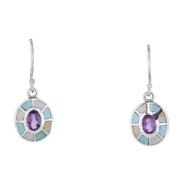 Amethyst Earrings in Enamelled Silver