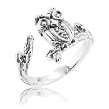 Easy Comfort-Fit Silver Owl Ring