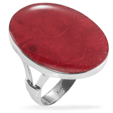 Finely Polished Red Coral Ring