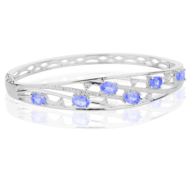 2½ct Tanzanite Bangle Iced with White Topaz