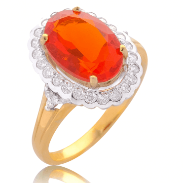 Tonal Gold Setting for over 3cts of Fire Opal & Diamonds