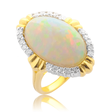 8½ct Opal Ring with 20 Diamonds