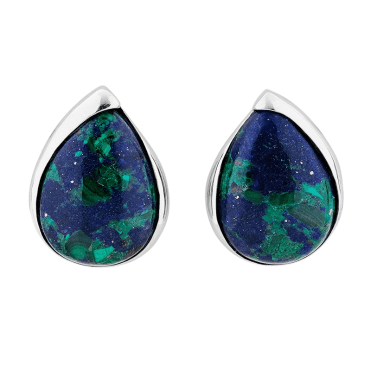Blend the Intense Blue & Green of Azurite-Malachite Clip Earrings