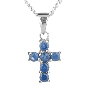 Silver Cross Jewelled with Sapphire