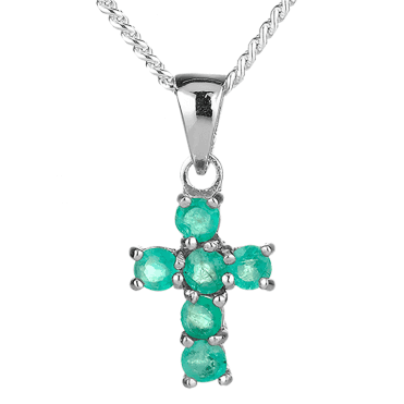 Silver Cross Jewelled with Emerald