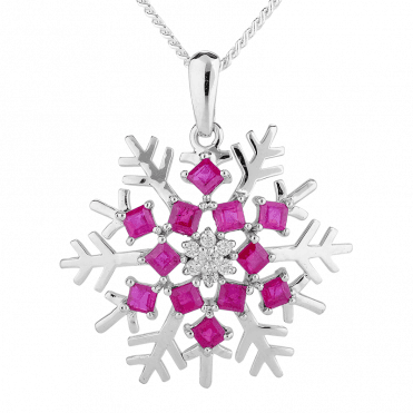 Ruby & Diamond Snowflake Pendant in 9ct White Goldv