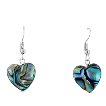 Paua Shell Heart Earrings