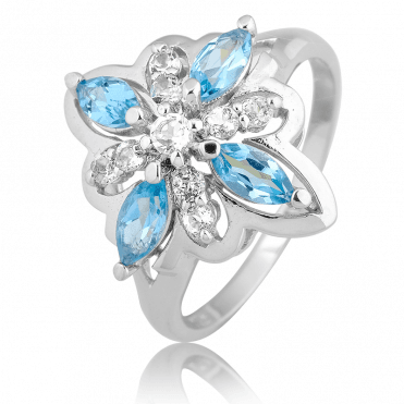 Silver Ribbon Ring with 1½cts of Topaz Contrasts