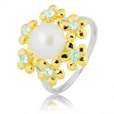 Pearl & 18ct Vermeil Ring with ½ct of Green Sapphire